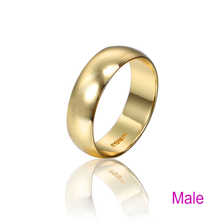 Populaire Couple Rings Gold Engagement Ring for Men Women Alliance Casamento  ZU75