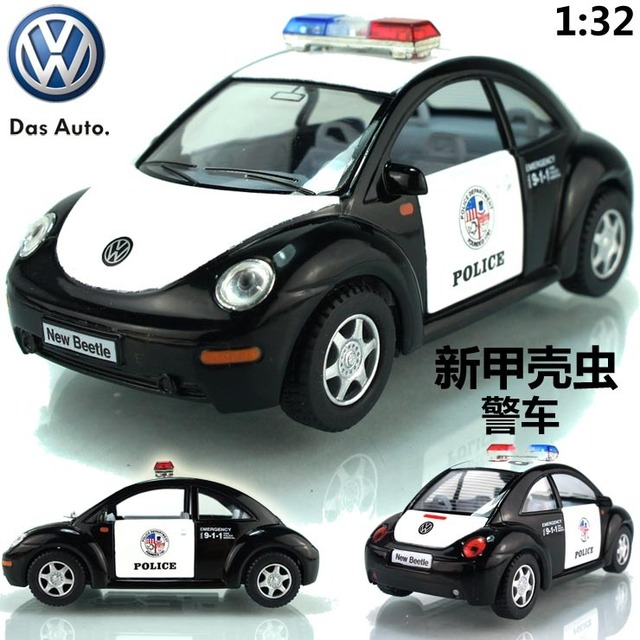 free shipping, Kinsmart soft world vw beetle police car 911 alloy car model toy