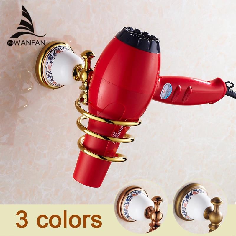 Free Shipping Modern Fashion Bathroom Hair Dryer Shelf Rack Golden Finish Commodity Holder Wall Mount  Bathroom Accessories3318