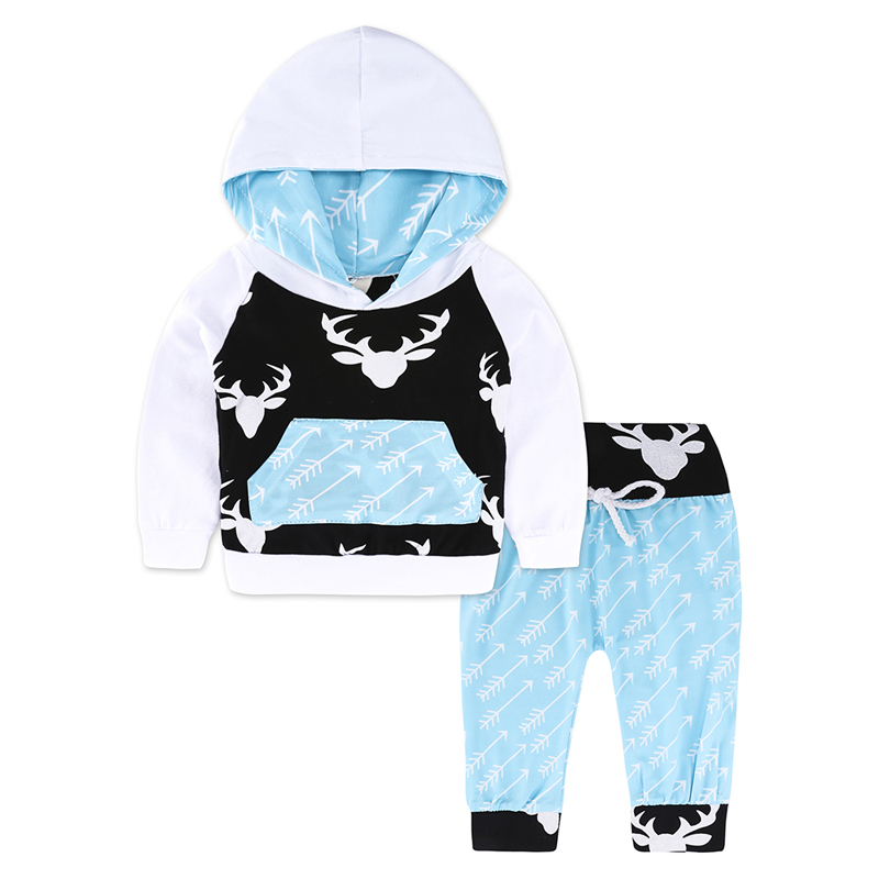 Kids Tales New Style Long Sleeve Baby Boys Clothes Sets Casual Hooded Pullover Tops Striped Pants 2 PCS Newborn Clothing Outfits