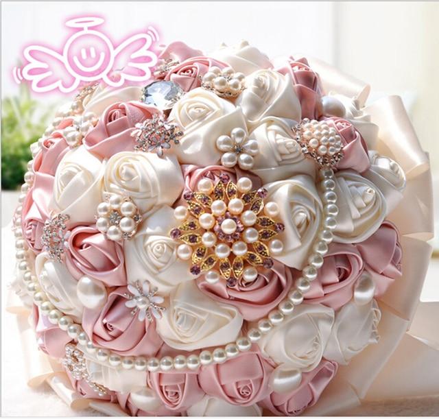 Nueva Llegada 2017 Elegantes Rosas Broches De Perlas De Cristal de Lujo Con Cuentas de Seda de Flores Ramos de Novia de La Boda