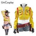 Final Fantasy XV Cindy Aurum Cosplay Mujer Chaqueta y Pantalones Cortos + Guantes + Cintura bolsa Pistolera Mecánico Del Partido Uniforme Chaquetas amarillas