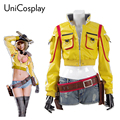 Final Fantasy XV Cindy Aurum Traje Cosplay Mulher Jaqueta Mecânico & Shorts + Luvas + saco Da Cintura Coldre Partido Uniforme Jaquetas amarelas