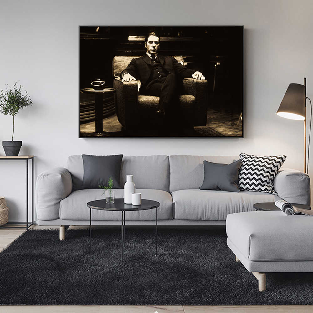Godfather AL PACINO Vintage Moive Wall Posters And Prints Black Black And White Godfather Canvas Art Paintings For Living room