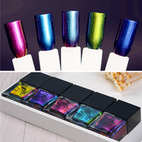 BORN PRETTY 1 Set Chameleon Nail Polish 10ml Manicure Nail Art Varnish 5 Bottles Black Base