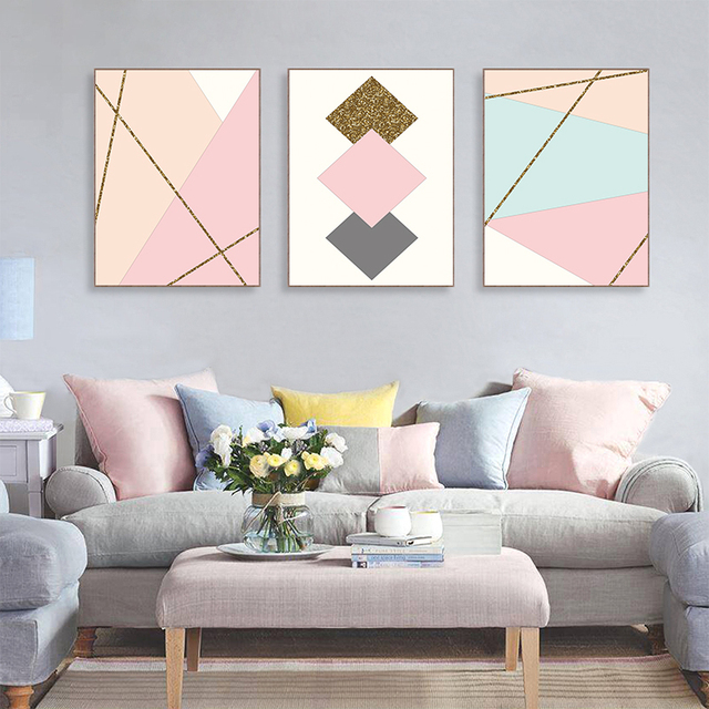 4658dbb4d0a Modern Golden Yellow Geometric Pattern Posters And Art Print Canvas Painting  Wall Fruit Picture Nordic Kids Room Decor No Frame
