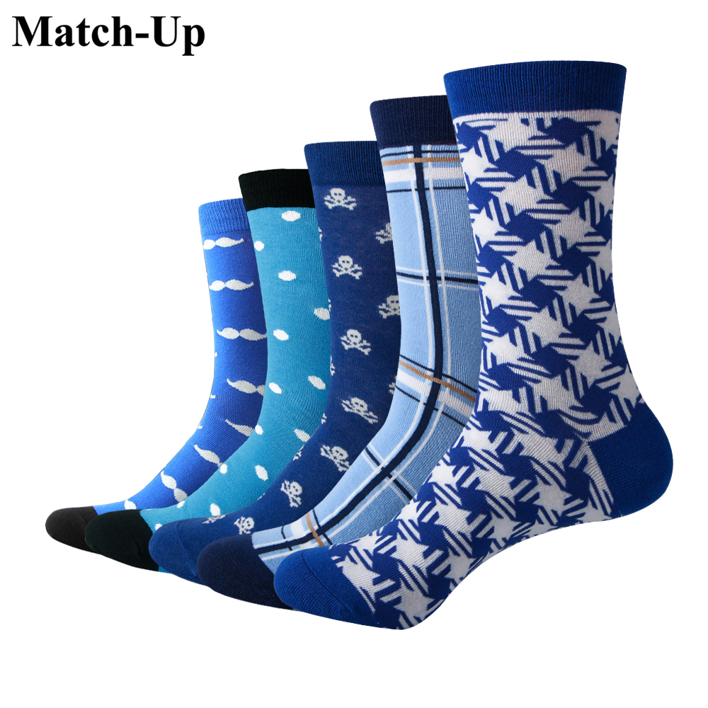 Match-Up Men Colorful Blue Style Cotton Socks Mustache and Skull Socks  (5 Pairs / lot )