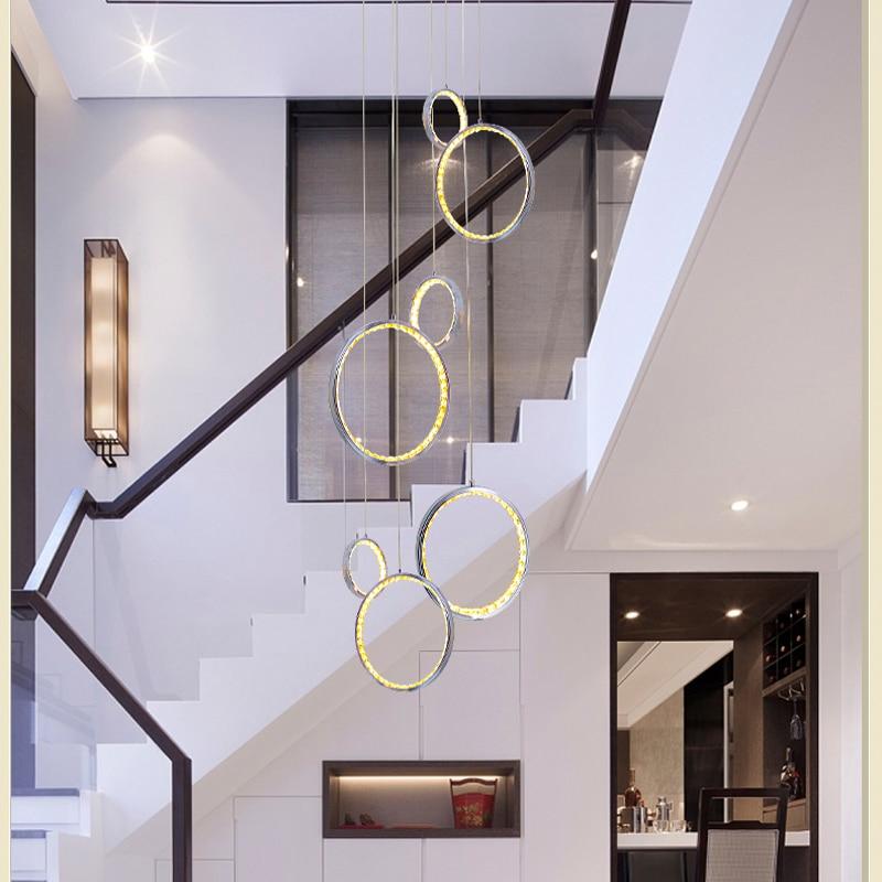 Современная светодио дный светодиодная Хрустальная Подвесная лампа с 3 круговыми кольцами подвесная Подвесная лампа фойе подвесные лампы