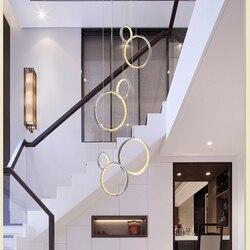Luz colgante de cristal led moderna con anillo de 3 círculos lámpara colgante suspendida vestíbulo lámparas colgantes comedor iluminación interior para el hogar