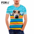 FORUDESIGNS New Fashion Men 3d t-shirt funny print sky blue summer cool t shirt street wear tops tees cute animal dog head shirt