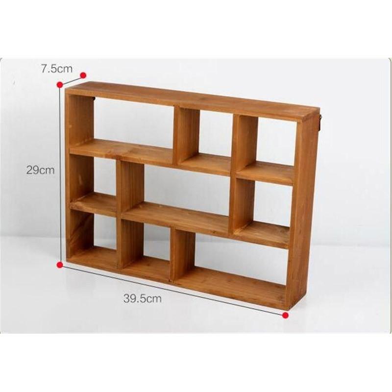 Wooden Box 9 Grids Wooden shelf Home Storage Holder Rack Bathroom ...