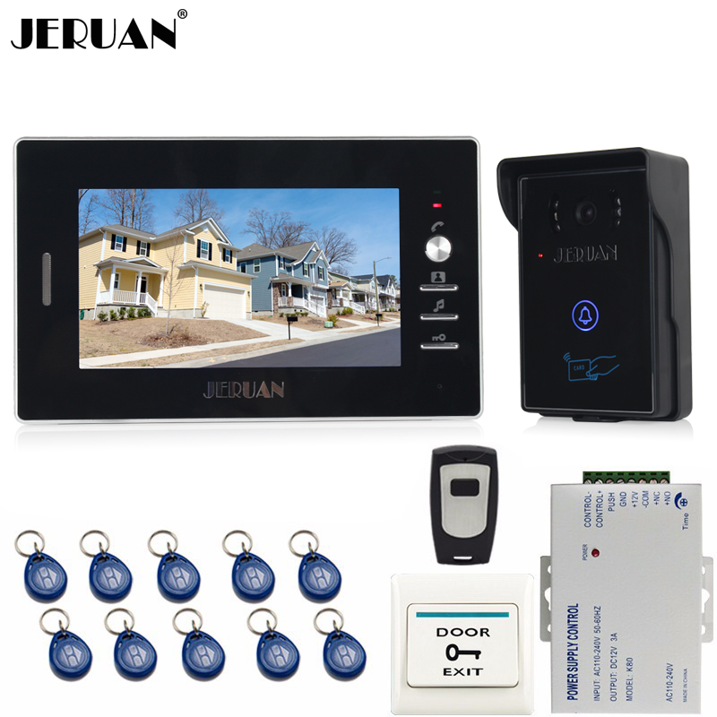 JERUAN 7`` LCD Screen Video Doorbell Intercom Entry Door Phone System kit 1 monitor + RFID Waterproof IR Camera+Remote control jeruan apartment 4 3 video door phone intercom system kit 2 monitor hd camera rfid entry access control 2 remote control