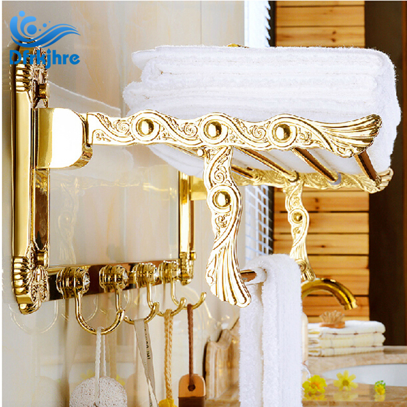 Luxury Golden Brass Bathroom Towel Shelf Wall Mounted Towel Holder ...