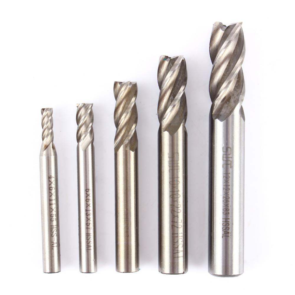 High Quality Drill Bit HSS CNC Straight Shank 4 Flute End Mill Cutter Tools Accessory 4mm 6mm 8mm 10mm 12mm For Choose