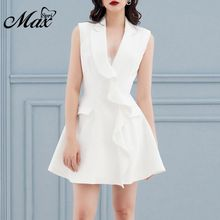 Max Spri 2019 New V Neckline Sleeveless White Frill Ruffle Frill Notched Collar A-line Mini Dress White Party Women Fashion недорго, оригинальная цена