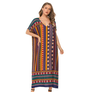 Image 1 - Muslim Womens Nightgown Plus Size V neck Sleepwear Short Sleeve Nightdress Home Dress Fashion Nightwear XXL Big Size Nightshirt