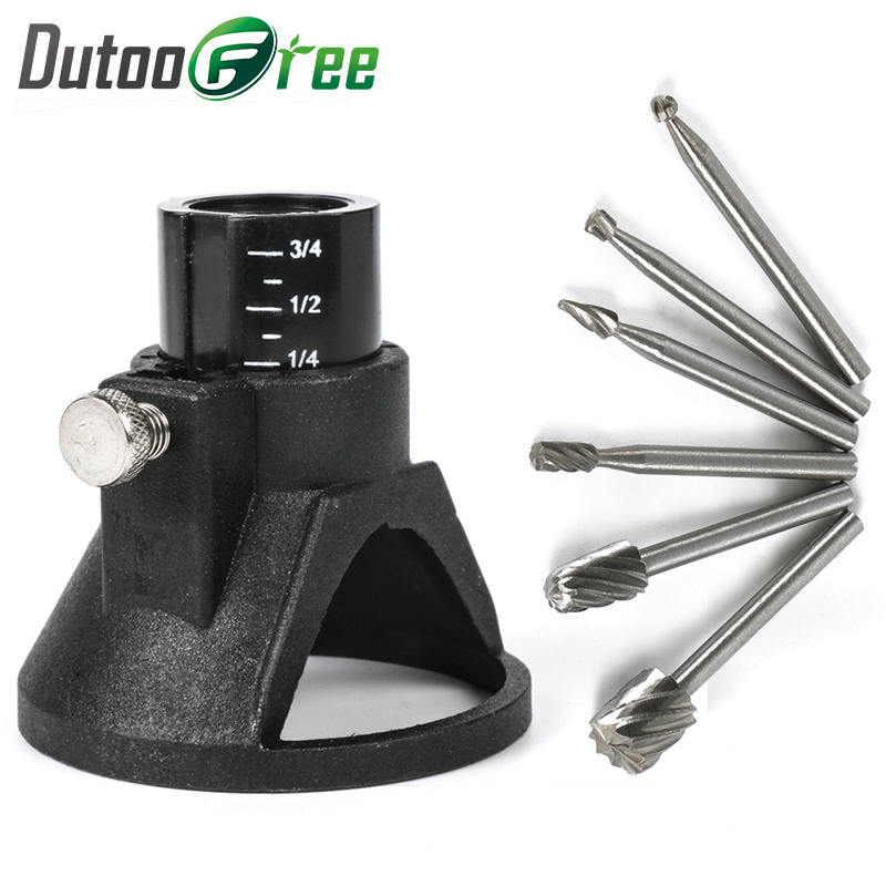 Dutoofree Rotary Tools Special Seat Dedicated Locator Horn Fixed Base 6pcs Wood Milling Cutter Set Dremel Accessories Power Tool