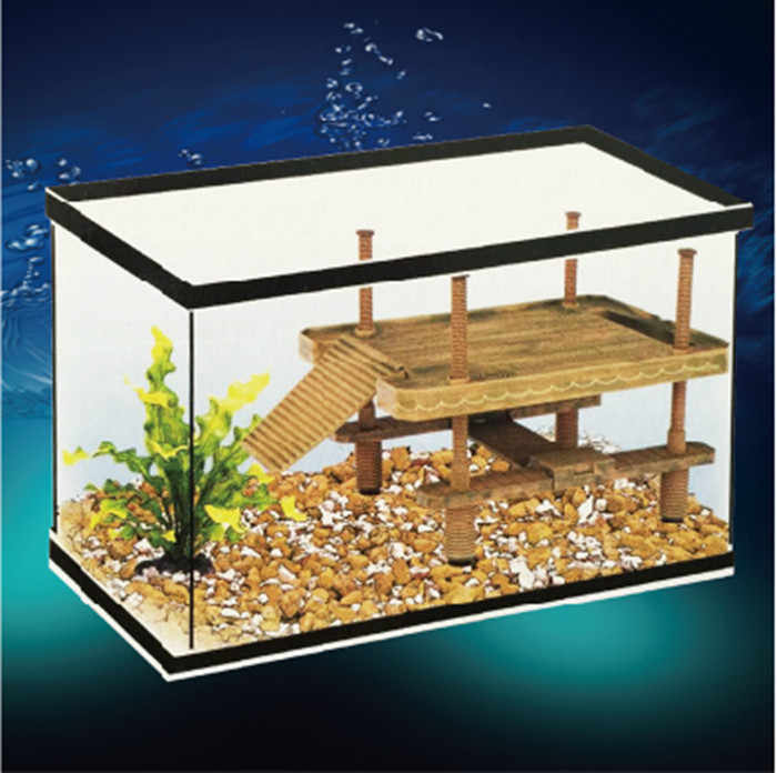 S/M/L Aquarium Reptile Frog Turtle Pier Floating Basking Platform Decoration with Ramp Ladder Fish Tank Decor