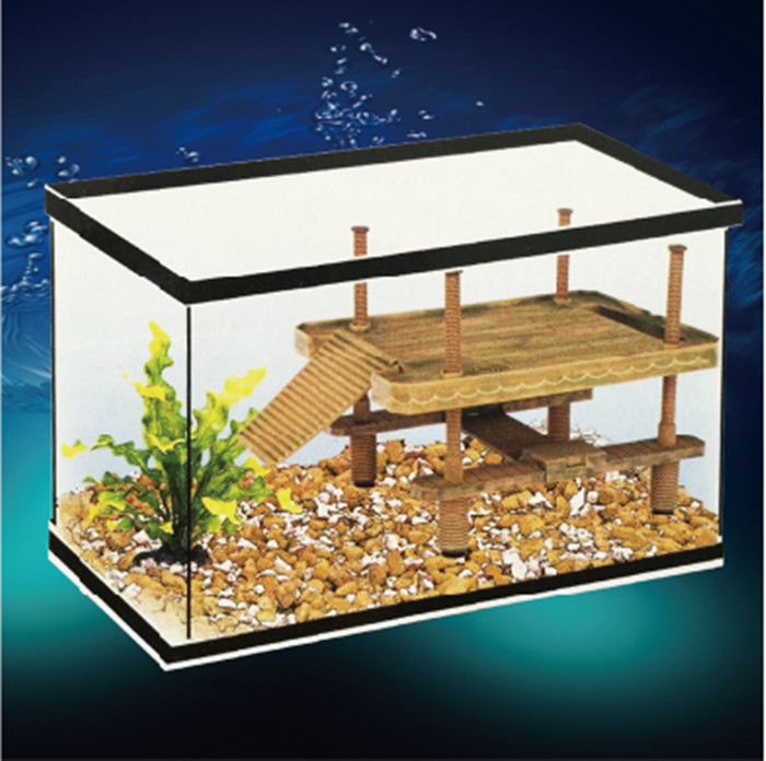 S / M / L Aquarium Reptile Frog Turtle Pier Floating Basking Platform Dekoration med Ramp Ladder Fish Tank Decor