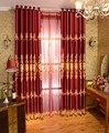Модные жаккардовые шторы с вышивкой  роскошные красные затемненные занавески на окна для спальни  гостиной  шторы Cortinas para sala