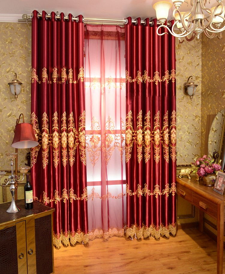 Fashion Oriental Embroidered Jacquard Luxury Red Blackout Window Curtain For Bedding Room Living