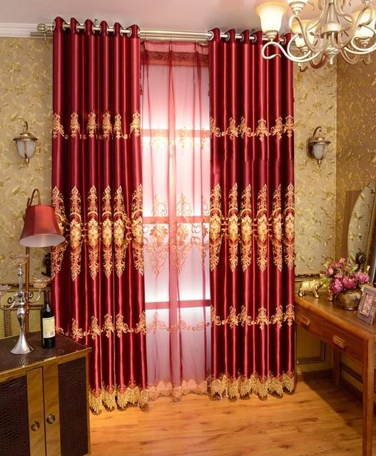mode oosterse geborduurde jacquard luxe rode verduisterende gordijn voor beddengoed kamer woonkamer gordijnen cortinas para sala