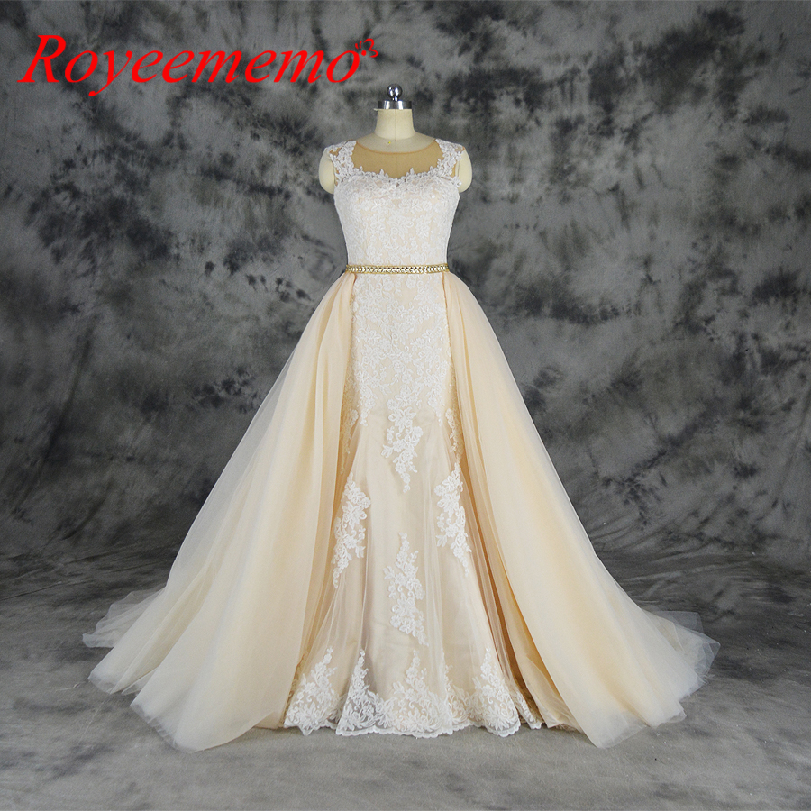 aliexpress : buy 2019 ivory over champagne tulle wedding dress  detachable skirt wedding gown custom made wholesale price bridal dress from