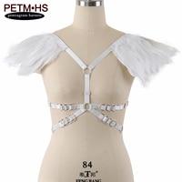แองเจิลปีกขนนกสีขาวE Paulettesทาสไหล่สวมชุดแต่งงานปีกพาส
