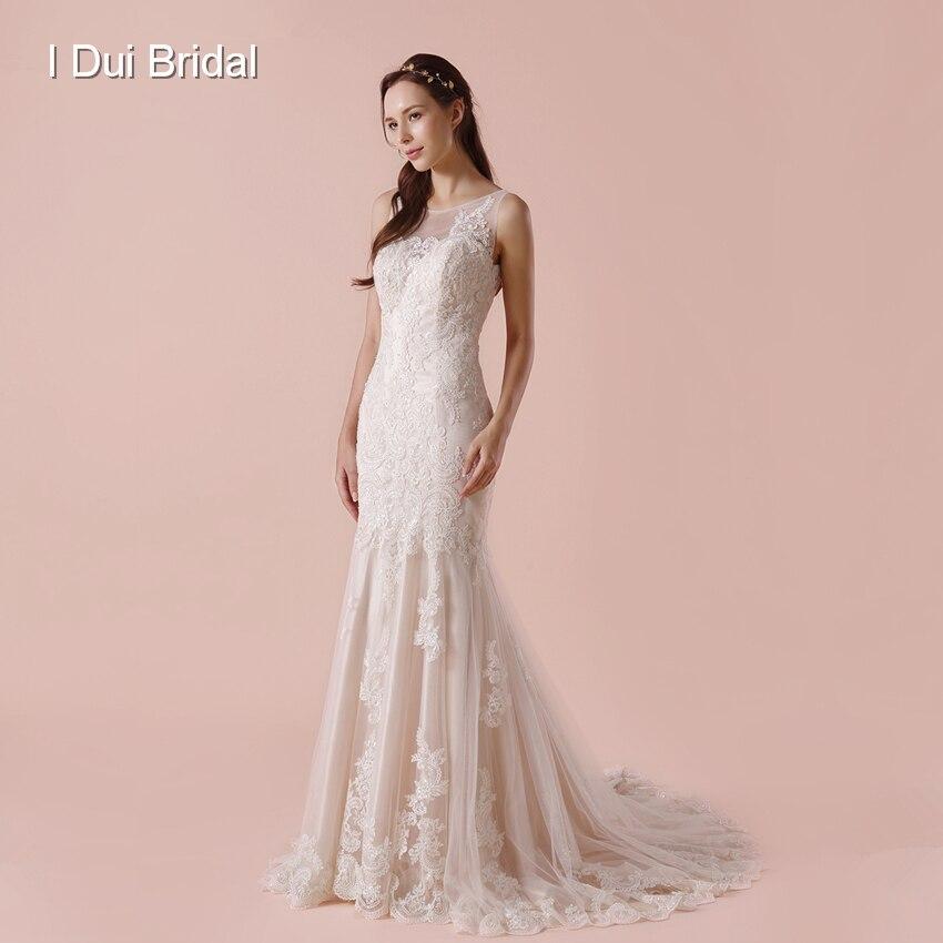 Illusion Back Sheath Wedding Dress Side Zipper Lace Appliqued New Bridal Gown