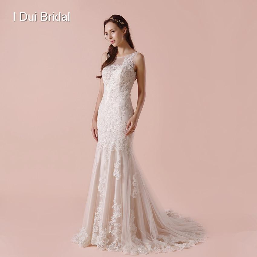 Illusion Retour Gaine De Mariage Robe Glissière Latérale Dentelle Appliqued 2018 Nouveau Robe De Mariée