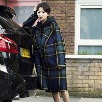 80% шерстяное пальто женское длинное Макси taran клетчатое пальто теплое шерстяное пальто 2018 осень зима верхняя одежда синий зеленый плед англ
