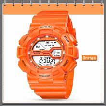 Оранжевые дети девочек Для женщин Мода Кристалл спортивные часы многофункциональные студент Водонепроницаемый светодиодный Digital Дата наручные H04195