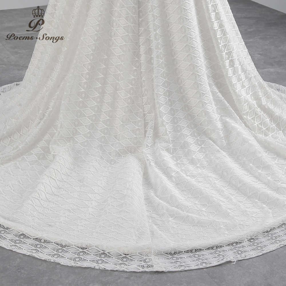 PoemsSongs real photo 2018 Cap Mangas Mermaid vestido de noiva beading beading lace sexy Vestido de Casamento Vestido de noiva