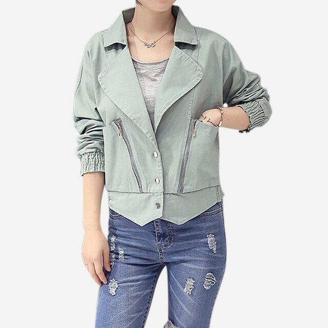 Новое Прибытие 2016 Мода Весна Осень Большой Карман Короткий Короткий Куртка Женщин Тонкий Дамы Плюс Размер Пальто chaquetas mujer