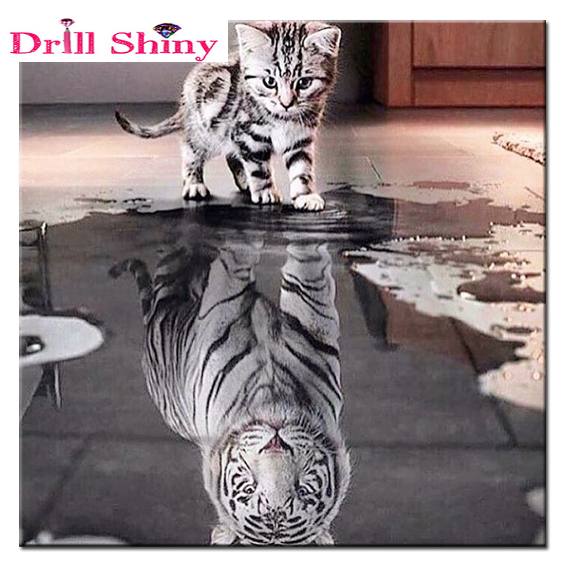 5D DIY Diamond Painting Cute Cat Water Shock Tigers Animal Crystal Embroidery Full Drill Cross Stitch Ասեղնաբուժություն Մոզաիկ ներկ