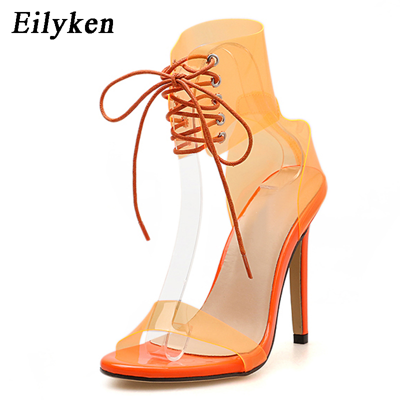 4ece93e6e2c Eilyken 2019 PVC Jelly Lace Up Sandals Open Toed High Heels Sexy Women Transparent  Heel Sandals Party Pumps 11CM Sales Promotion-in High Heels from Shoes on  ...