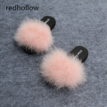 2019 Womens Fur Fluffy Marabou Mules 3 cm or 6 Slip On Slippers Feather Sliders size 35-40 high quality 15 colors