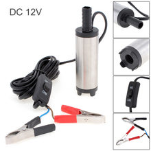 DC 12V Stainless Steel Car Electric Submersible Pump Fuel Water Oil Barrel Pump with 2 Alligator Clips manufacturer sb 1 130l min 7 5m 1 1kw electric oil drum pump barrel pump stainless steel tube and plastic impeller