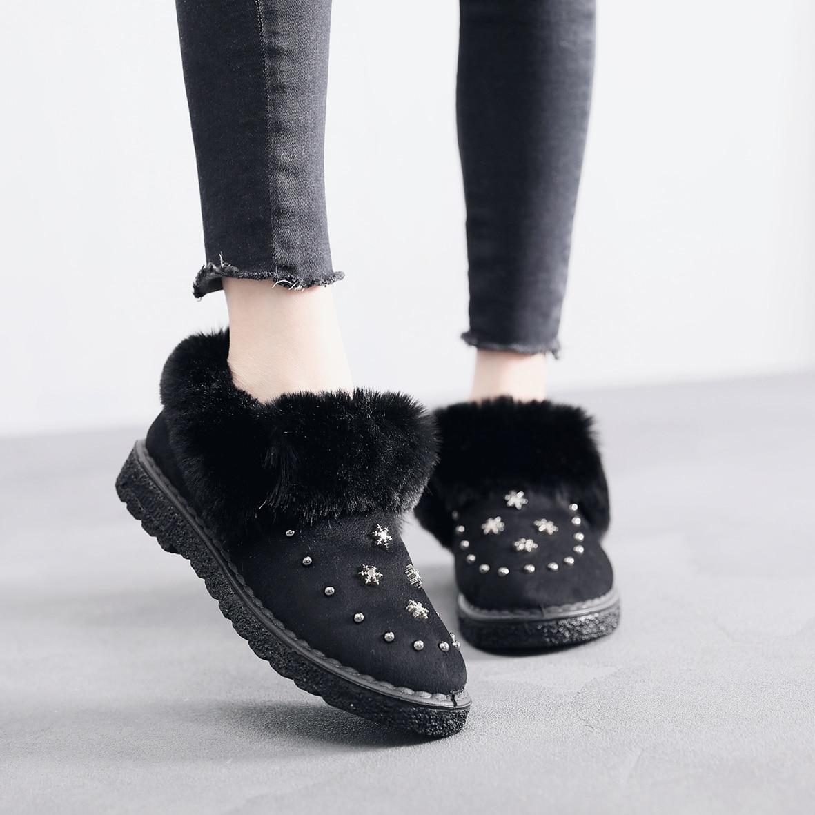 Ankle Boots Women Flats Winter Warm Snow Suede Short New  Shoes Fur Plush Black Brown