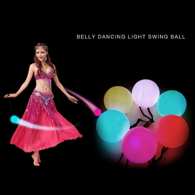 2 Pcs Belly Dance Balls LED RGB Glow POI Thrown Balls Light Up For Belly Dance Level Hand Props Stage Performance Accessories