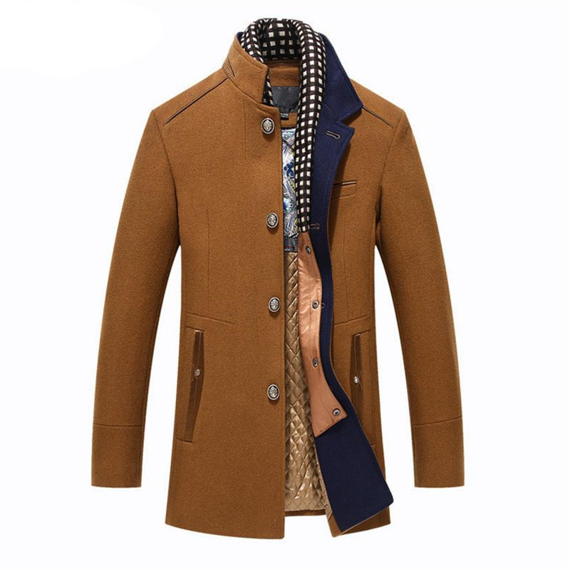 Autumn and winter new men's jacket young long section thick coat Casual Men Casual wool coat Scarf collar Overcoat title=