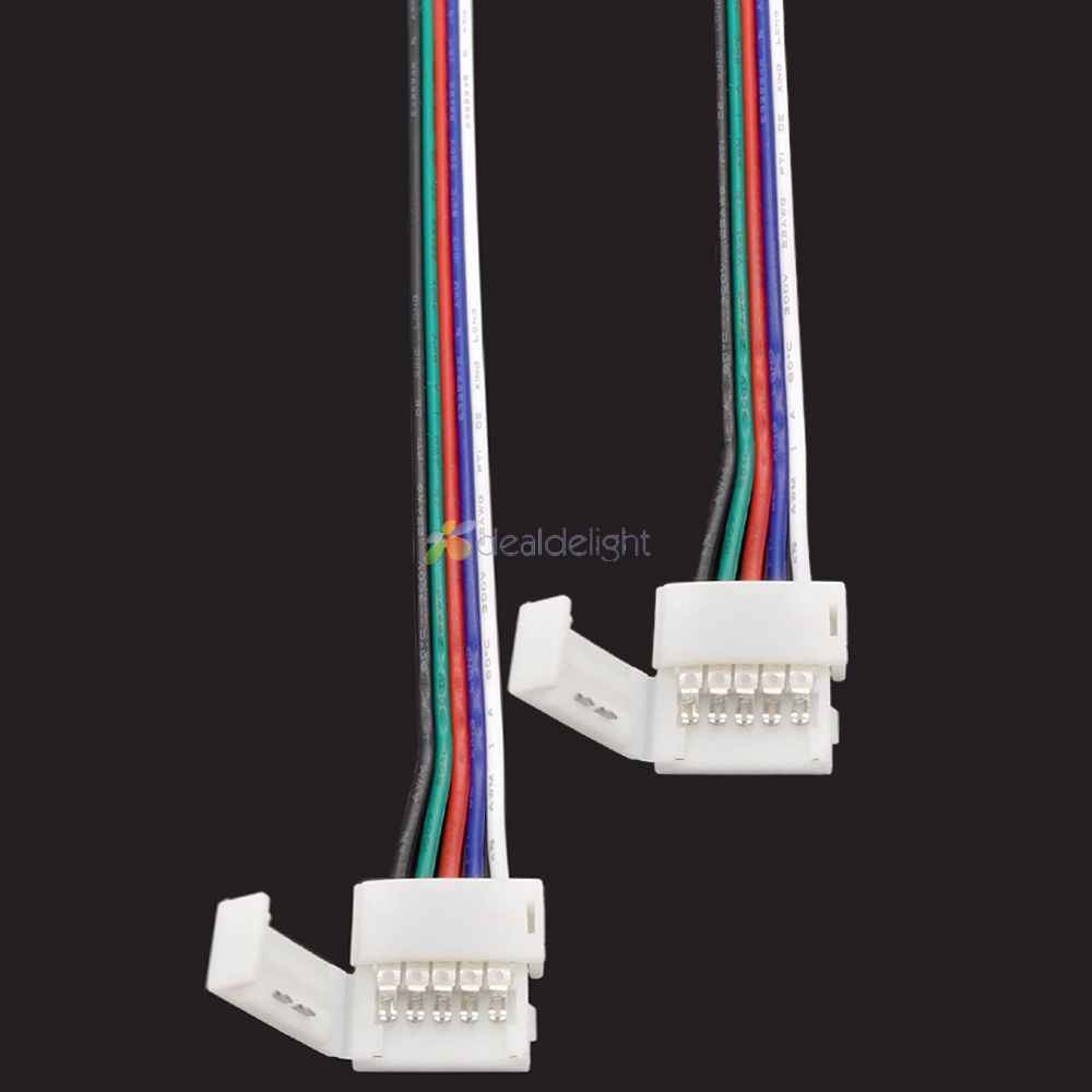 5pcs 5 pin 10mm 12mm Width Solderless Connector With clips For 5050 RGBW RGBWW Led strip with 15cm Long Wire