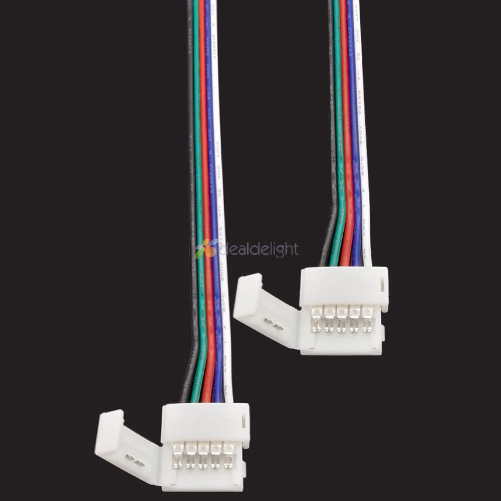 5pcs <font><b>5</b></font> <font><b>pin</b></font> 10mm 12mm Width Solderless <font><b>Connector</b></font> With clips For 5050 RGBW RGBWW <font><b>Led</b></font> <font><b>strip</b></font> with 15cm Long Wire image
