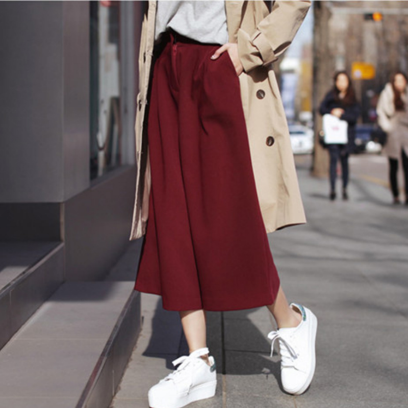 Warm   Wide     Leg     Pants   Women 2017 Winter New Fashion Female Casual Loose Elastic Waist Ankle-length Thick Trousers   Pants   FD15#8138