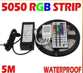 5M SMD 5050 RGB LED Strip Light Waterproof LED Flexible Tape Ribbon + Remote Control + DC12V Adapter For Home KTV Bar Lighting