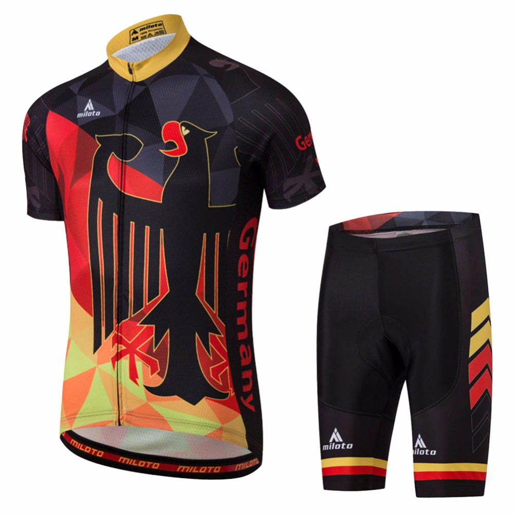 Germany Cycling Clothes Set Men Short Sleeve Cycling Jersey & Spandex Shorts Set Reflective Cycling Set Retro Bike Suit italian style fashion men s jeans shorts high quality vintage retro designer classical short ripped jeans brand denim shorts men
