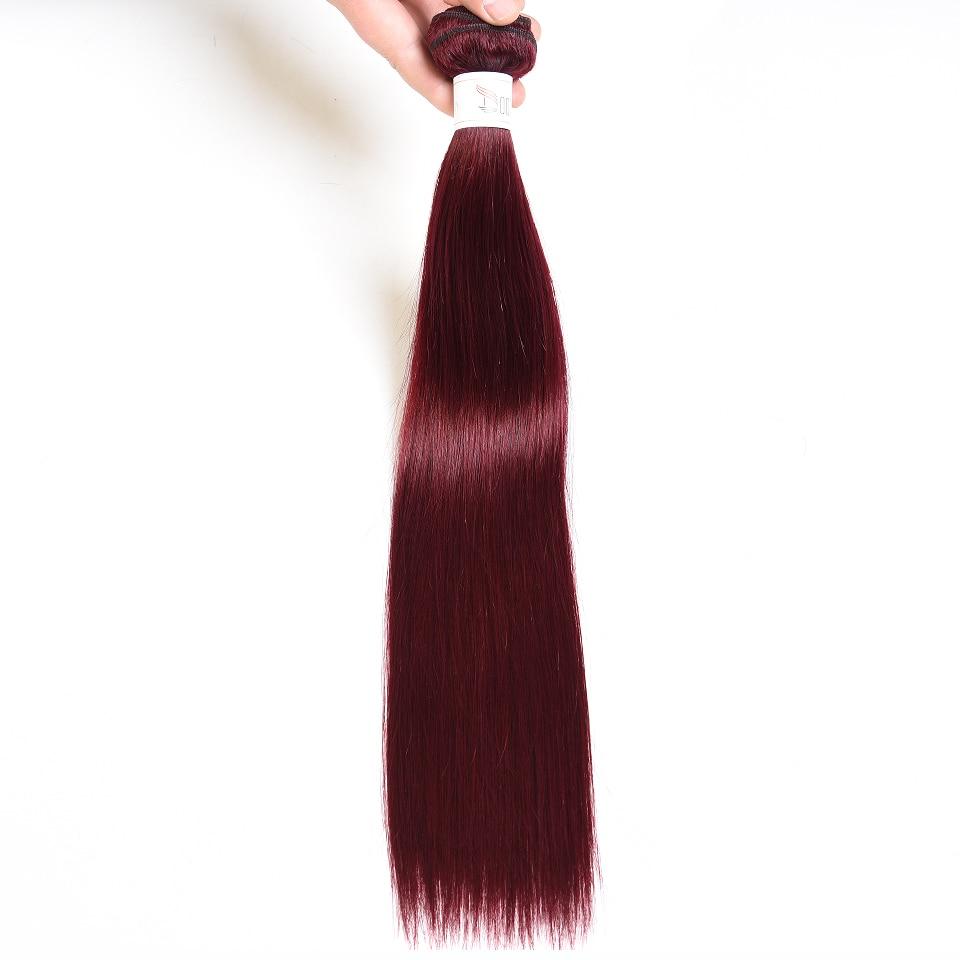 Doozy Straight Brazilian Human Hair 3 Bundles Color 99j Mahogany