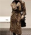 Designer da marca MAX mulheres Inverno/outono sexy leopardo impresso casaco longo ocasional magro blusão lapela manto outerwear pista