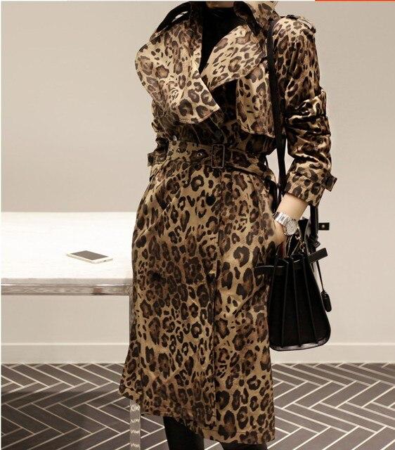 designer MAX brand women Winter/fall sexy leopard printed trench coat long casual slim windbreaker lapel cloak outerwear runway