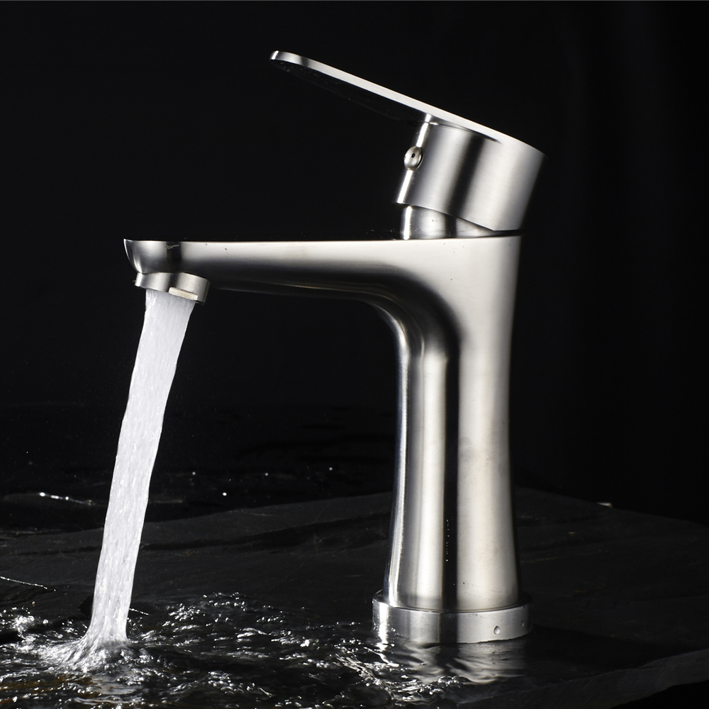 Stainless Steel Bathroom Sink Faucet Single Hole Brushed Nickel Basin Sink Hot and Cold Water Mixer Tap